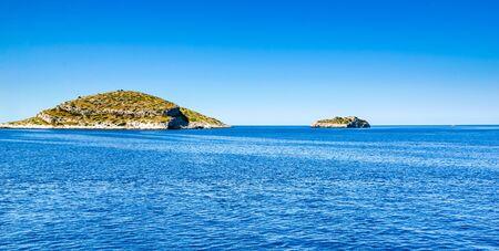 Croatian islands, panorama of sea, Croatia. Vacation and travel concept.