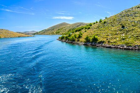 Mediterranean landscape of islands in the sea, Croatia. Vacation travel concept Stock fotó
