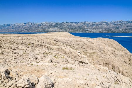 Adriatic rocky coast of island, Mediterranean Sea Bay, Croatia, landscape Stock fotó