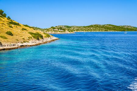 Mediterranean scenery with sea and islands. Croatia, vacation travel concept. Stock fotó