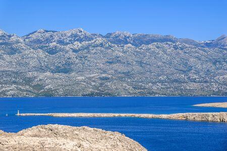 Croatian rocky coast. Mediterranean Sea, Kvarner Bay near Pag Island, Croatia, landscape.