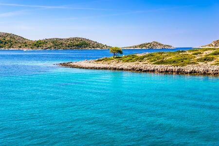 Croatian coast of rocky beach. Island in the sea, Croatia. Mediterranean scenery, Croatia, vacation travel concept.