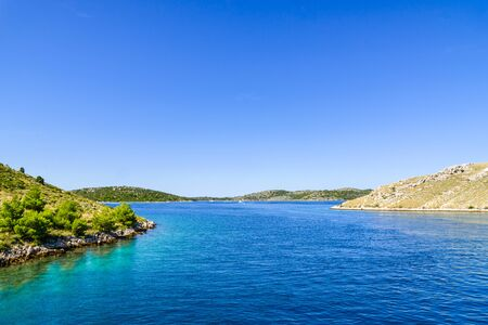 Croatian coast, scenic view. Mediterranean landscape with sea and islands. Croatia, vacation travel concept.