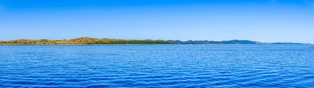 Panoramic view of Sea in Croatia, scenic view during the cruise in the Adriatic Sea. Vacation and travel concept.