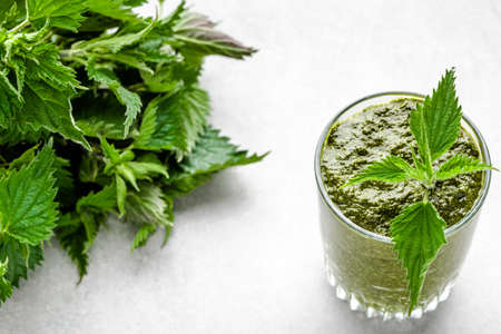 Detox juice or green smoothie, healthy drink with leaves of nettle Stock fotó