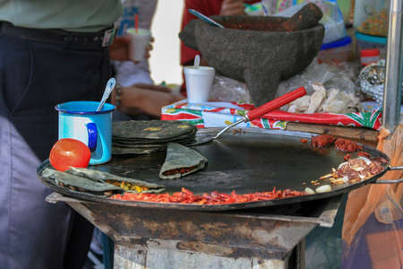 Food sold on the streets in Mexico taco and tortilla