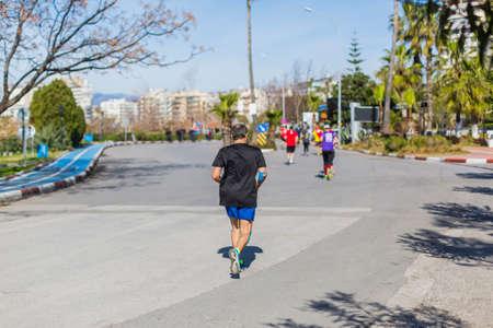 Athletes running in a marathon race