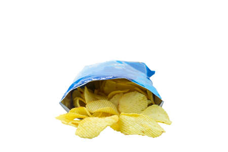 bag of potato chips on white background