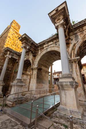 Antalya Hadrian gate (uckapilar) historical monument from the Roman period in Turkey