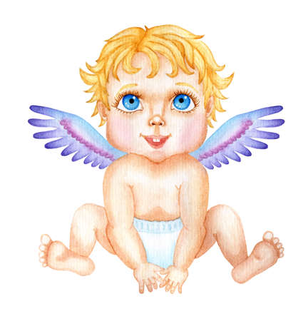 Cute watercolor baby Cupid. Valentine's Day illustration of a little angel with big blue eyes and golden hair. Isolated on white background. Drawn by hand.