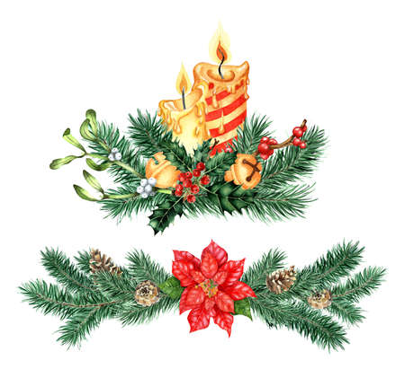 Watercolor illustration of decor for Christmas and New Year. Festive set of bouquet with candles and ornament with poinsettia, spruce, bells, holly, mistletoe. Isolated on white background. Drawn by hand. Illustration