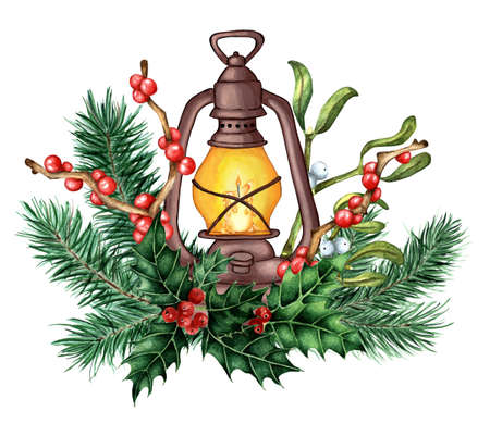 Decor for Christmas and New Years lantern with a candle in fir branches, holly, ilex and mistletoe. Watercolor illustration of decoration for the holidays. Isolated on white background. Drawn by hand.
