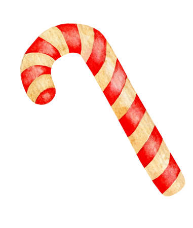 Christmas lollipop cane. Watercolor illustration of a festive caramel with red and white stripes. New Year's decor and treats. Drawn by hand.