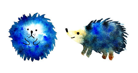 Hedgehog blue watercolor drawing set, children's illustration, cute hedgehog, surprised painting, watercolor painting, hand-painted hedgehog blob arbitrary paint drop isolated on white.