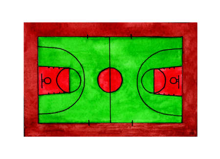 Conceptual watercolor illustration of a basketball field with lines. Isolated on white background. Drawn by hand. Çizim