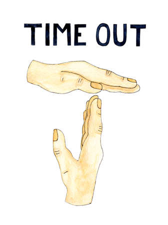 Watercolor illustration of hand making gesture and dark blue text TIME OUT. Isolated on white. Sport, game, business, pause concept. Drawn by hand.