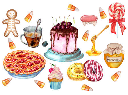Festive set of sweets. Cherry trot, cherry pie, donuts, gingerbread, lollipop, caramels, honey, cherry and cream muffin and a cup of tea. Watercolor illustration isolated on white background. Drawn by hand.