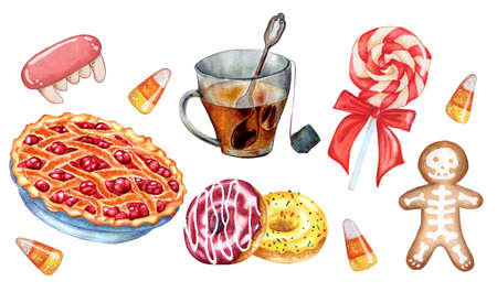 The sweets set includes a cup of tea, cherry pie, lollipop, donuts, gingerbread and caramels. Watercolor illustration isolated on white background. Drawn by hand.
