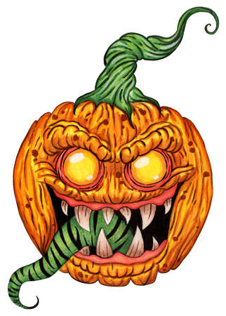 A pumpkin with a demonic gaze, with terrible teeth and a long green tongue. Halloween symbol. Feast of the Dead. Illustration isolated on white background. Hand-drawn.