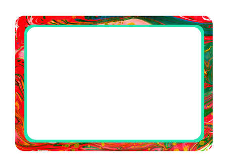Watercolor horizontal rectangular frame with rounded edges. Rough background with jagged brush drawn border. Grunge, watercolor, ink, paints. Isolated on white background. drawn by hand.