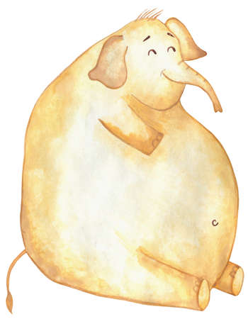 A huge fat yellow elephant sits and smiles. Isolated on a white background. Comic elephant. Drawn by hand.