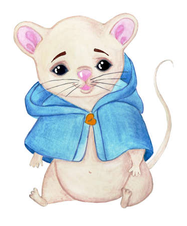 A cartoon mouse in a blue jacket sits. Separate on a white background. Children's watercolor illustration. Hand painted on paper.