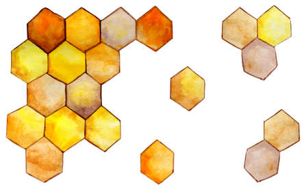 Honey golden honeycombs isolated on a white background. Bee honeycomb icon. Hexagonal natural honey texture. Hand-drawn watercolor illustration.