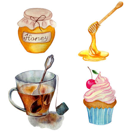Tea party set. Watercolor illustration cup of tea, cupcake with cream, wooden spoon for honey, a jar of honey. Isolated white background. hand painted. Vetores