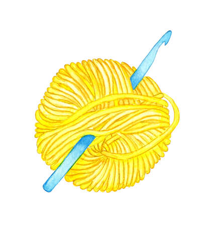 Watercolor illustration of a crochet hook stuck into a yellow skein. A ball of wool for knitting. Crochet stitches and stitches. Creativity, knitting, needlework. Isolated on white background. Drawn by hand.