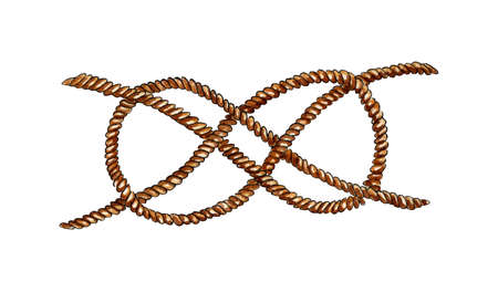 Watercolor illustration of a rope tied with a sea knot. Eight knot, tie together. Rope, wire rope, jute. Isolated on white background. Drawn by hand.