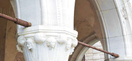st  mark's square: column in white marble, St. Marks Square in Venice