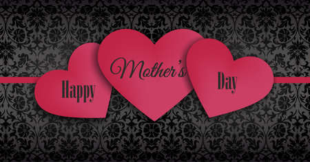 authorities: Happy Mothers day, overlapping series of red hearts on black lace background