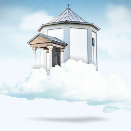 keys to heaven: church on a cloud in the middle of the blue sky Stock Photo