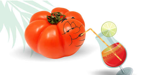 side dish: tomato drinking a bloody mary, white background