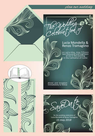 elegant wedding invitation in shades of dark green and light green, with save the date, invitation and bookmark as thanks