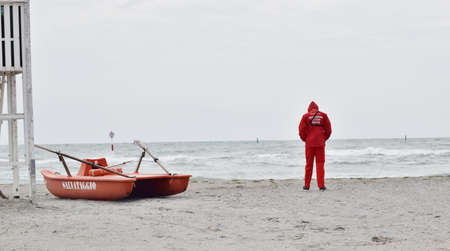 pedal: lifeguard with rescue boats and pedal tower in lignano sabbiadoro Italy Stock Photo