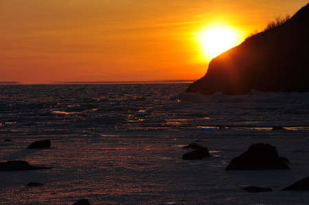 icey: Sunset in Lake Superior.