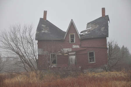 abandoned farmhouse abandoned farmhouse: Haunted house. Stock Photo