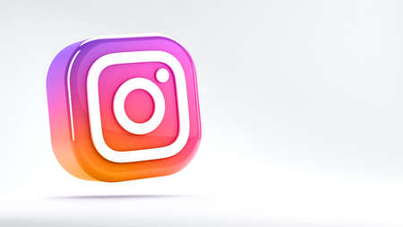 Valencia, Spain - March, 2021: Isolated Instagram logo camera icon, gradient colorful symbol for smartphones. Free social media app for sharing photos and videos with other people of the network Editorial