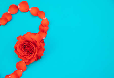 Half a heart of red rose petals on a blue background. Valentine's day. Flower arrangement. The background of Valentine's day.