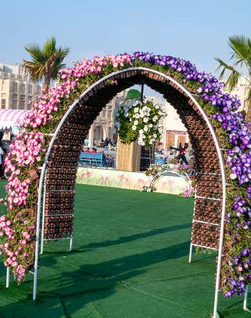 Doha, Qatar- February 2021: Flower Festival at the Souq Waqif