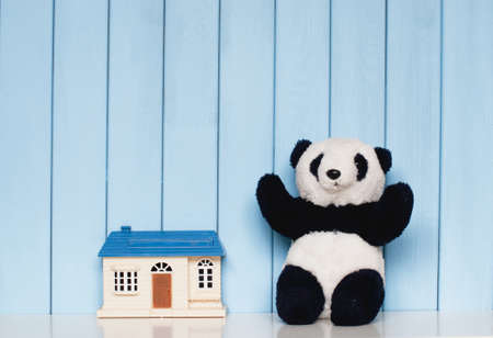 panda: toy house and old vintage soft panda on the bookshelf in the childrens room on blue wooden background