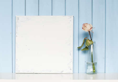 wooden background: A blank shabby canvas and white rose in the bottle on blue wooden background