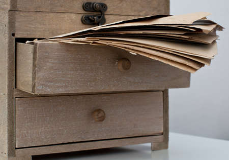 tallboy: Old wooden box with ancient letters