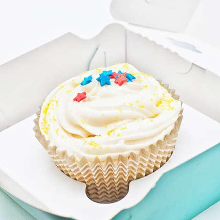 vanilla cupcake: Vanilla cupcake with star sprinkle in the pack Stock Photo