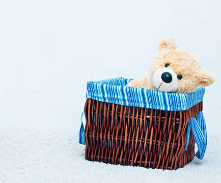 spliced: cuddly toy bear in the webbed basket on the white background Stock Photo