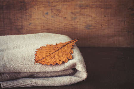 Oak dry leaf and autumnal warm knitted cardigan on vintage suitcase