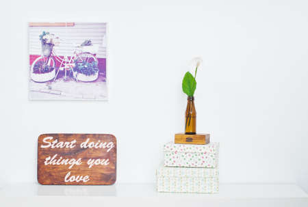 poster bed: Bicycle - flower bed on picture and flower in the bottle and Motivating grunge wooden poster quote Start doing things you love