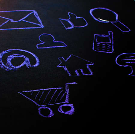 meshwork: collection of web icons is drawn by the chalk on the blackboard