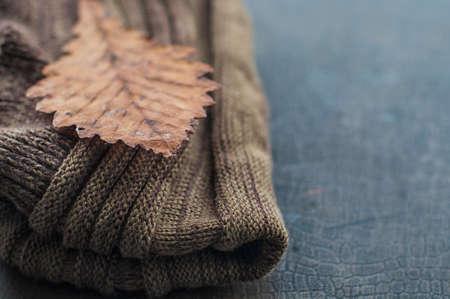 Otoñal bufanda marrón cálido y hoja amarilla seca Foto de archivo - 45356732